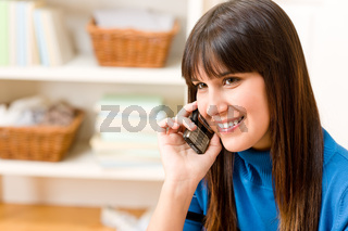 Teenager girl relax home - on phone