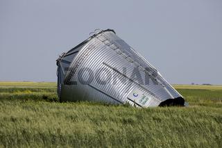 Metal Grain Bin Damaged