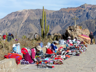 Small souvenir market at Mirador Cruz del Condor in Colca Canyon, Peru