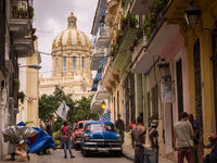 Street with view on capitol in Havana, Cuba