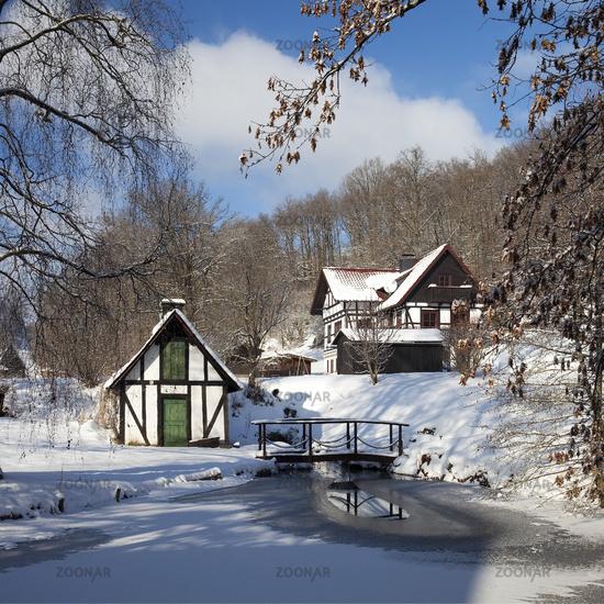 old balery at a frozen pond in winter, Mittelhees, Kreuztal, North Rhine-Westphalia, Germany, Europe