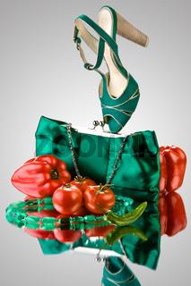 Green sandal and handbag