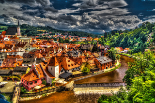 Aerial view to Cesky Krumlov Czech Republic