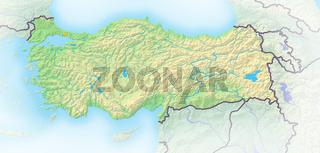 Türkei , Reliefkarte.