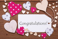 Label, Pink Hearts, Text Congratulations