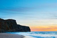 Romantic sunset on the ocean