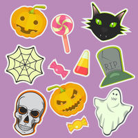 Halloween decoration attributes vector image.