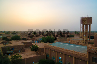 Aerial sunset panoramic view to Agadez old city, Air, Niger