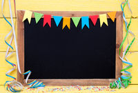 Chalkboard With Party Decoration, Copy Space