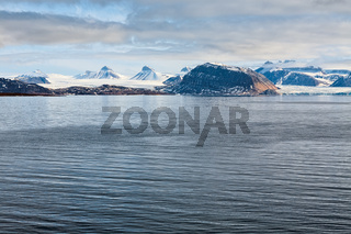 Mountains and glacier in Svalbard islands