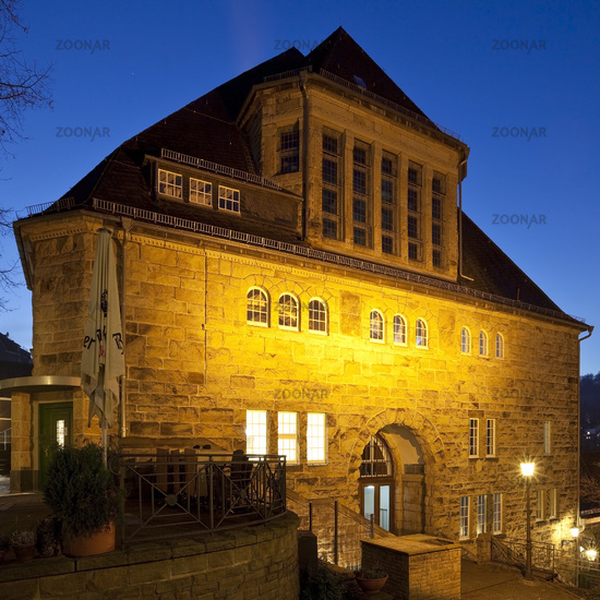 historical town house Langenberg in the twilight, Velbert, North Rhine-Westphalia, Germany, Europe