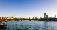 Panorama of Thames river on sunrise from Golden Jubilee Bridges