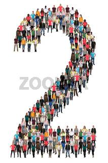 Zahl Ziffer 2 zwei Leute Menschen People Gruppe Menschengruppe