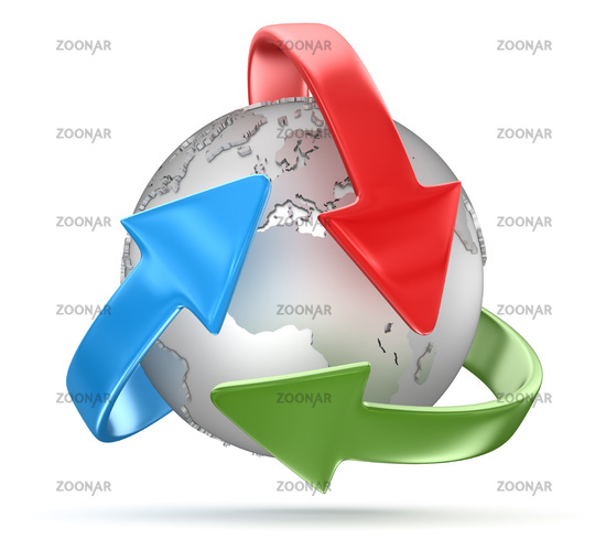 Recycling Symbol and Globe
