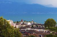 Lausanne architecture and Lake Geneva