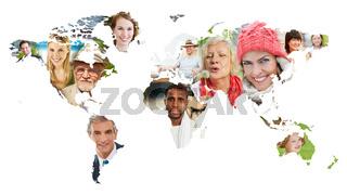 Gesichter vieler Leute auf Weltkarte der Erde