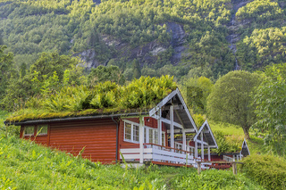 Grass Roofed Houses At  Geiranger Fjord Norway