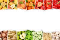 Obst und Gemüse Früchte Apfel Tomaten Orangen Zitrone Farben Textfreiraum