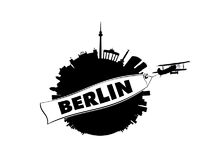 Berlin City with Airplane and Banner