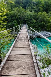 Wooden Bridge over rover Soca, Slovenia