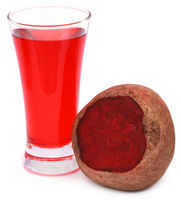 Fresh Beet with juice in glass