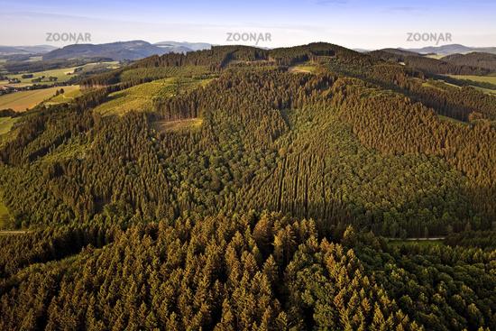 aerial view of a landscape near Lochtrup, Eslohe, Sauerland, North Rhine-Westphalia, Germany, Europe