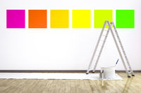 a room with six different colors on the wall to choose