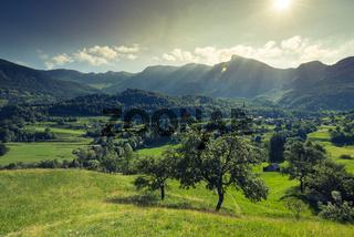 Countryside and Dreznica village in Julian Alps,Slovenia