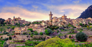 Valdemossa, monastery and hilltop town, Mallorca, Spain.