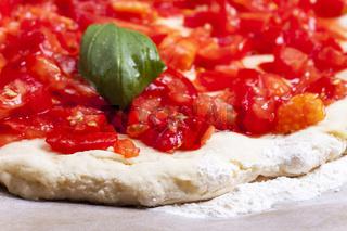 Detail einer rohen Pizza