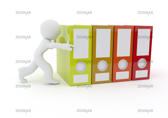 Character with folder on white, 3d rendering