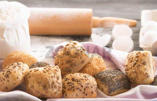 Homemade bread rolls with seeds