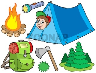 Camping collection on white background - isolated illustration.