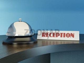 Hotel bell on the table. Reception. 3d