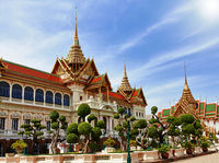Grand palace, Wat Phra Kaew with blue sky, bangkok, Thailand.