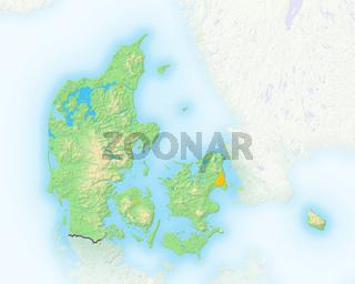 Dänemark , Reliefkarte.