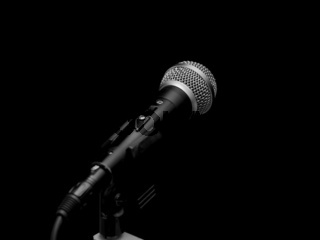 Dynamic microphone on stand isolated on black