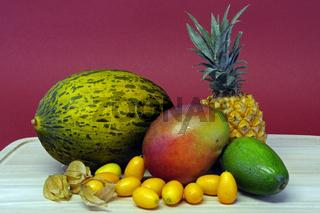 tropische Fruechte, Ananas, Melone, Kumquat, Physalis, Avocado, Mango