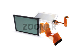LCD display. Close-up. Isolated on a white background.