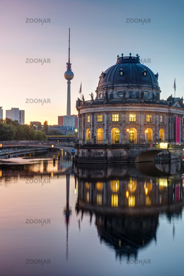 The Bode Museum and the Television Tower in Berlin at dawn