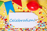 Party Label, Red Balloon, Text Celebration