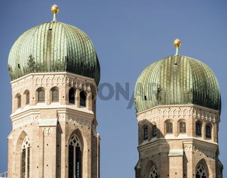 Close up of the towers of Frauenkirche in Munich, Germany