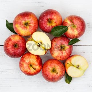 Äpfel Apfel rot Obst Frucht Früchte quadratisch von oben