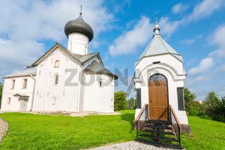 Zverin Pokrovsky Monastery in Veliky Novgorod, Russia. Russian orthodox church