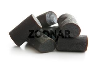 Black liquorice candies.
