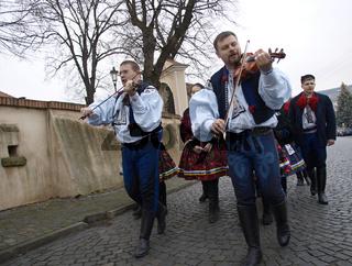 musicians parade village - folklore