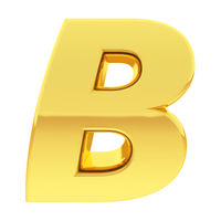 Gold alphabet symbol letter B with gradient reflections isolated on white. High resolution 3D image