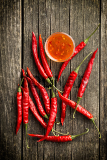 Red chili peppers and chili sauce.