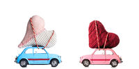 Retro toy cars with Valentine hearts