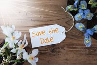Sunny Flowers, Label, Text Save The Date